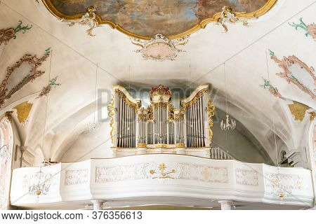 View Of The Organ Inside The St. John Church In Sigmaringen