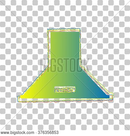 Exhaust Hood. Kitchen Ventilation Sign. Blue To Green Gradient Icon With Four Roughen Contours On St
