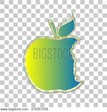 Bited Apple Sign. Blue To Green Gradient Icon With Four Roughen Contours On Stylish Transparent Back