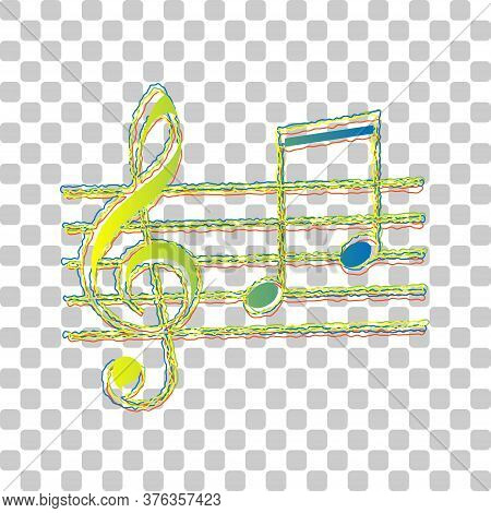 Music Violin Clef Sign. G-clef And Notes G, H. Blue To Green Gradient Icon With Four Roughen Contour