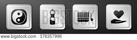 Set Yin Yang, Bottle Of Water, Sauna Bucket And Ladle And Heart On Hand Icon. Silver Square Button.
