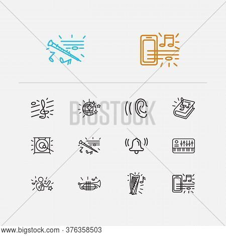 Musical Icons Set. Treble Clef And Musical Icons With Bell, Music Theory And Music On Phone. Set Of