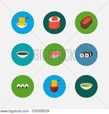 Sushi Icons Set. Soy And Sushi Icons With Spaghetti, Gunkan And Soup. Set Of Chopsticks For Web App