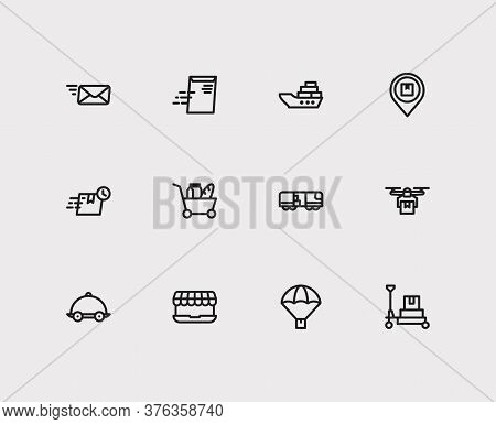 Shipment Icons Set. Global Delivery And Shipment Icons With Fast Delivery, Delivery Address And Emai