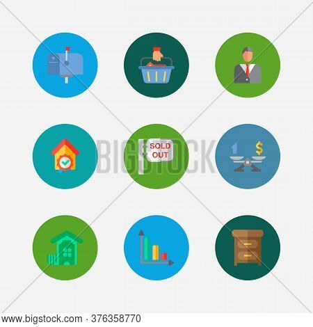 Property Icons Set. Buyer And Property Icons With Mail Box, Property Valuation And Checking. Set Of