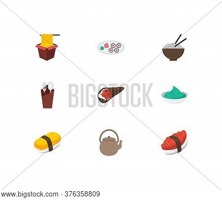 Nutrition Icons Set. Tako Maki And Nutrition Icons With Tamago Nigiri, Hawker And Wasabi. Set Of Tra