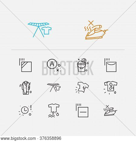 Clothes Icons Set. No Steam And Clothes Icons With Dirty T-shirt, Wet Clothes And Collapsible Clothe