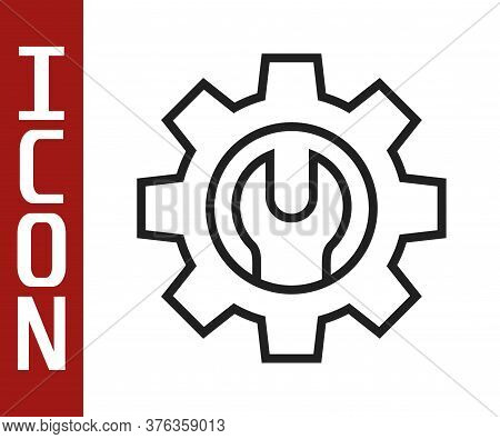 Black Line Wrench Spanner And Gear Icon Isolated On White Background. Adjusting, Service, Setting, M
