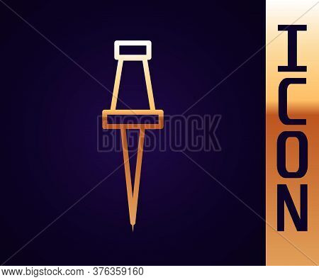 Gold Line Push Pin Icon Isolated On Black Background. Thumbtacks Sign. Vector Illustration