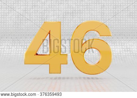 Yellow 3d Number 46. Glossy Yellow Metallic Number On Metal Floor Background. Shiny Gold Metal Alpha