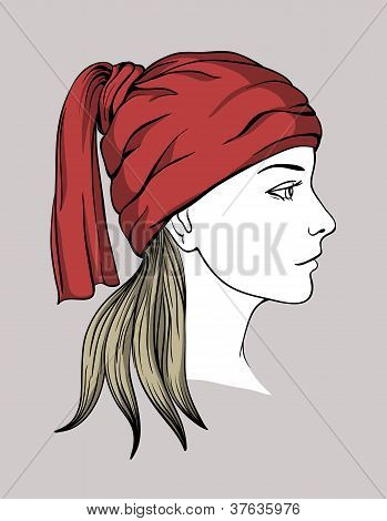 Face of girl with winter cap