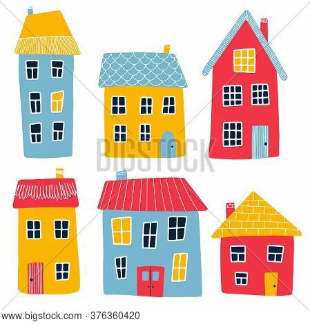 Vector Illustration Of Multi-colored Cartoon Primitive Houses Isolated On A White Background. Red, Y