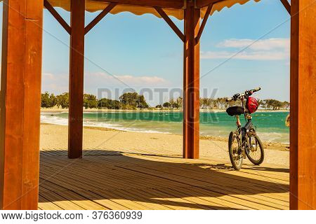 Bicycle On Quitapellejos Beach, Andalucia Region In Spain. Activity On Holidays
