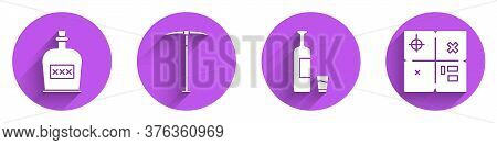 Set Alcohol Drink Rum Bottle, Pickaxe, Whiskey Bottle And Glass And Treasure Map Icon With Long Shad