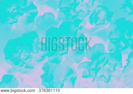Floral Green Aquamarine Background, Carnation Flowers Pattern