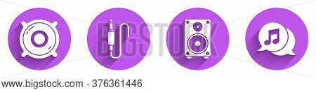 Set Stereo Speaker, Audio Jack, Stereo Speaker And Musical Note In Speech Bubble Icon With Long Shad