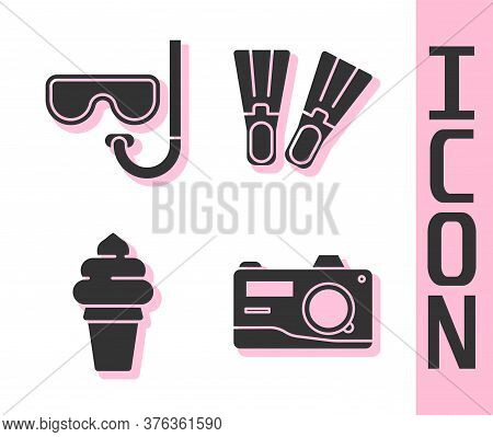 Set Photo Camera, Diving Mask And Snorkel, Ice Cream In Waffle Cone And Rubber Flippers Icon. Vector
