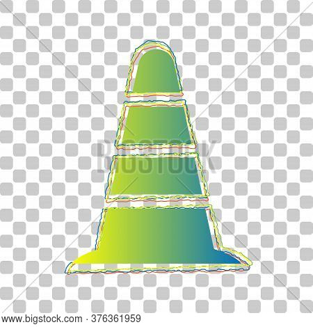 Road Traffic Cone Icon. Blue To Green Gradient Icon With Four Roughen Contours On Stylish Transparen
