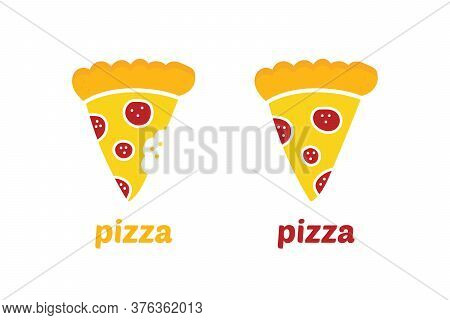 Vector Cartoon Style Pepperoni Pizza Slice Icons, Whole And With Teeth Bite Marks. Pizza Delivery, F