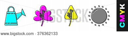 Set Watering Can, Leaf Or Leaves, Leaf Or Leaves And Sun Icon. Vector