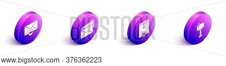 Set Isometric Delete Envelope, Envelope, Delete Envelope And Mail Box Icon. Vector