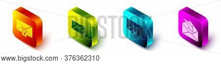 Set Isometric Mail Message Lock Password, Envelope With Shield, Delete Envelope And Envelope Icon. V