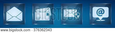 Set Envelope, Envelope, Envelope With Shield And Mail And E-mail On Speech Bubble. Square Glass Pane