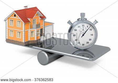 House And Stopwatch, Balance Concept. 3d Rendering Isolated On White Background
