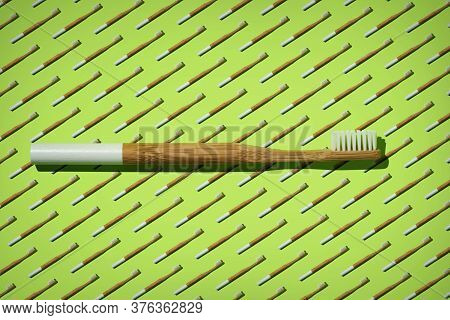 Bamboo Toothbrush With A White Handle On Green Bamboo Toothbrushes Pattern. Zero Waste, Eco Lifestyl