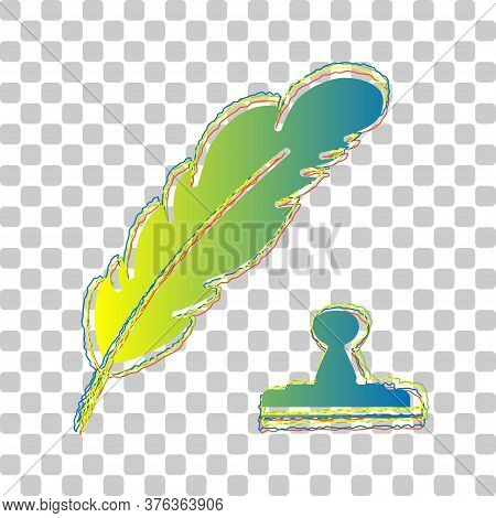 Plumage Or Feather And Stamp Sign. Blue To Green Gradient Icon With Four Roughen Contours On Stylish
