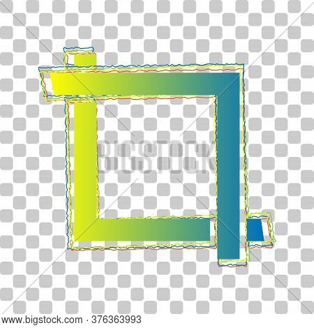 Cropping With Corners. Image Editor Sign. Blue To Green Gradient Icon With Four Roughen Contours On