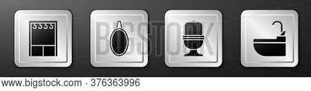 Set Wardrobe, Mirror, Toilet Bowl And Washbasin With Water Tap Icon. Silver Square Button. Vector