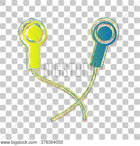 Earphones Sign. Blue To Green Gradient Icon With Four Roughen Contours On Stylish Transparent Backgr