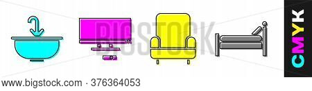 Set Washbasin With Water Tap, Smart Tv, Armchair And Bed Icon. Vector