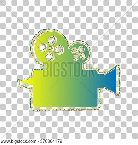Retro Video Recording Camera Sign. Blue To Green Gradient Icon With Four Roughen Contours On Stylish