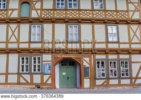 Quedlinburg, Germany - July 03, 2020: Half Timbered Facade Of The Historic Gemeindehaus Building In