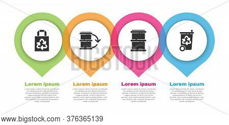 Set Paper Bag With Recycle, Eco Fuel Barrel, Barrel And Recycle Bin With Recycle. Business Infograph