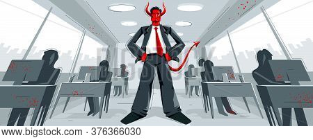 Big Boss Director With Horns Like Demon Or Devil Stands In Center Of Office With Employees Confident