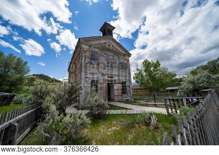 Bannack State Park, Montana - June 29, 2020: The Masonic Lodge And School House At The Ghost Town On