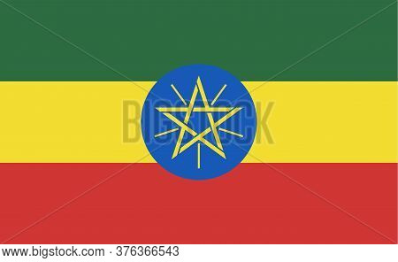 Ethiopia National Flag In Exact Proportions - Vector