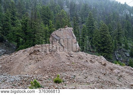 Memorial Boulder, At The Earthquake Lake (quake Lake) Geological Area In Montana, West Of Yellowston