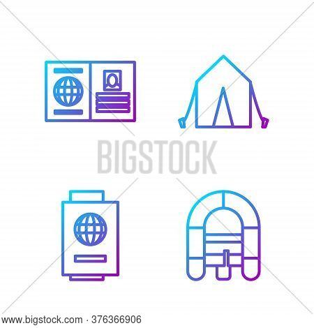 Set Line Rafting Boat, Passport With Ticket, Passport And Tourist Tent. Gradient Color Icons. Vector