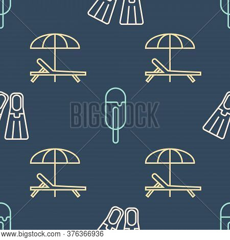 Set Line Rubber Flippers, Sunbed And Umbrella And Ice Cream On Seamless Pattern. Vector