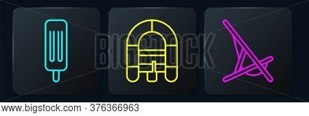Set Line Ice Cream, Sunbed And Rafting Boat. Black Square Button. Vector