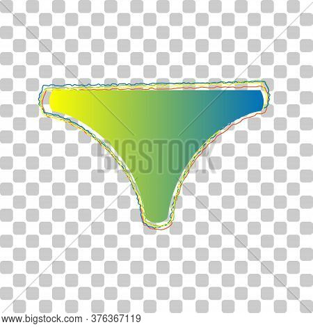 Underwear Shirt Underclothes Sign. Blue To Green Gradient Icon With Four Roughen Contours On Stylish