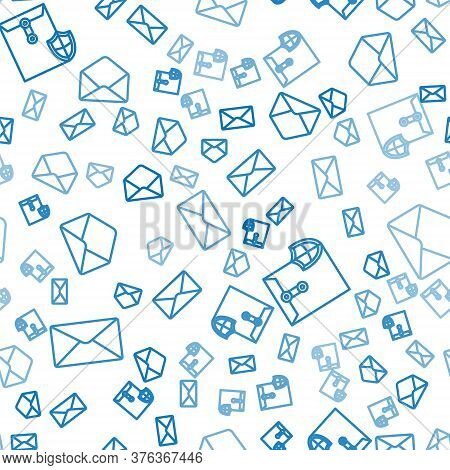 Set Line Envelope, Envelope With Shield And Envelope On Seamless Pattern. Vector