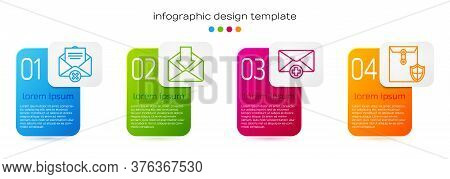 Set Line Delete Envelope, Envelope, Received Message Concept And Envelope With Shield. Business Info