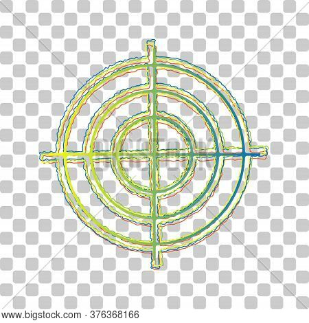 Target Aiming Sign. Blue To Green Gradient Icon With Four Roughen Contours On Stylish Transparent Ba