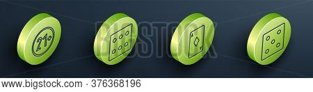 Set Isometric 21 Plus, Game Dice, Playing Card With Diamonds And Game Dice Icon. Vector