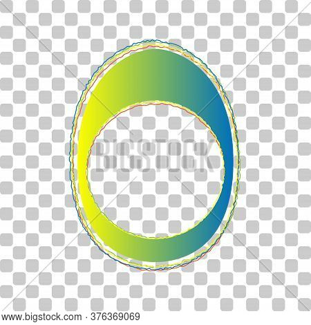 Egg With Yolk. Blue To Green Gradient Icon With Four Roughen Contours On Stylish Transparent Backgro